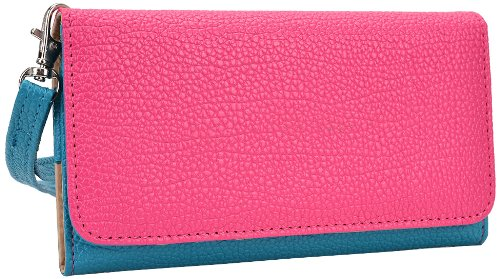 Kroo Clutch Wristlet Wallet for Smartphones up to 5.7-Inch - Retail Packaging - Blue and Magenta