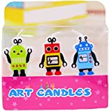 Cartoon Birthday Candles Creative Candle Three Robot Boy Prince Candles Smokeless Candles Cartoon Party Cake Decorated With Baked Creative Candles 3.5 * 1.8 * 1.8 Cm 2Boxes