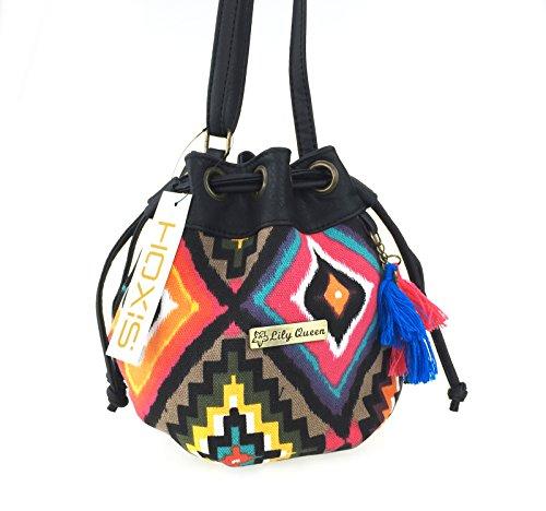 Hoxis Totem Bohemian Patterned Canvas Drawstring Mini Bucket Shoulder Bag Satchel (Square)