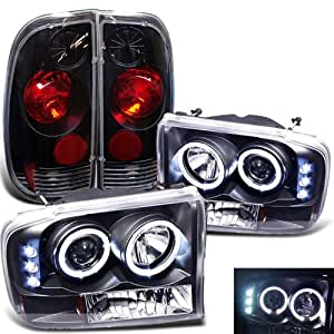 Rxmotoring 1999 2003 Ford F250 Headlights Projector Tail