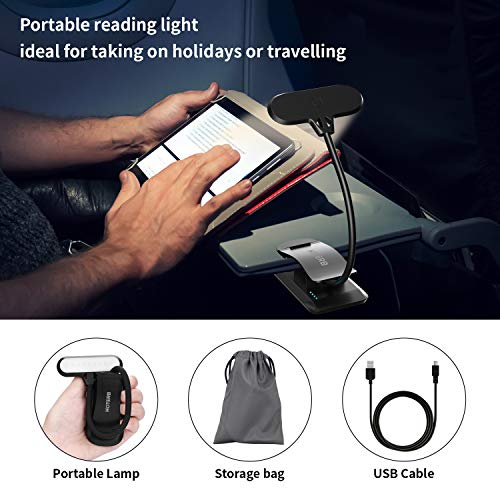 HOTERB Book Lights for Reading in Bed Clip,Rechargeable 9 LED Book Light with 3 Modes,Reading Light with Slick Touch Control,Perfect for Reading in Bed