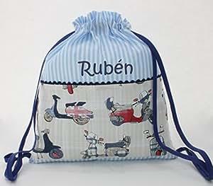 Bolsa mochila motos, en tela vichy rayas azul y blanco, personalizada con nombre. /30x35 cm./: Amazon.es: Bebé