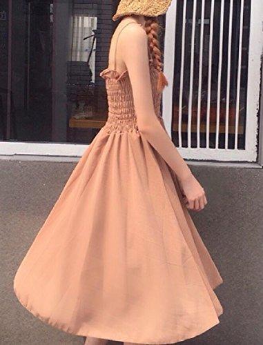 Long Waist High Casual Women Cotton Coolred Dress Mid Sling Slim Champagne Fashional wxgnY1q