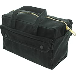 "Heavy Duty Military Small Mechanics Tool Bag (11"" x 7"" x 6"") by Army Universe (Black - Brass Zipper)"