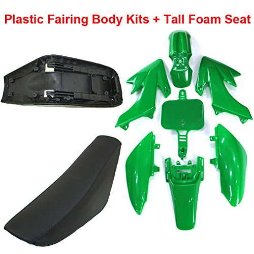 TC-Motor Plastic Fairing Body Kits + Tall Foam Seat For Honda CRF50 XR50 Pit Dirt Motor Trail Bike 50cc 70cc 90cc 110cc 125cc 140cc 150cc 160cc Chinese SSR YCF IMR Atomik Thumpstar BSE Apollo (Green) by TC-Motor (Image #1)