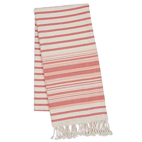 "DII Design Imports Red Gelato Stripe Fouta Towel a Beach Towel, a Blanket, a Shawl - One Fouta Does It All! Oversized 39 X 78"", 100% Natural Cotton Red Gelato Stripe Fouta Throw"