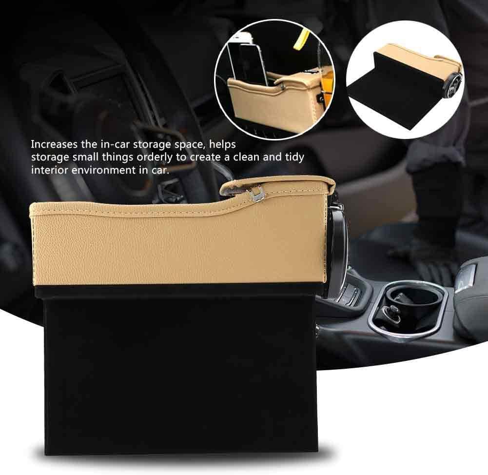 Ebtools Auto Catcher Organizer Multifunktions Leder Auto Rechts Sitz Spalt Aufbewahrungsbox Getränkehalter Pocket Organizer Beige Auto