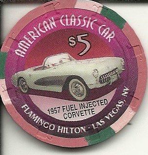 $5 flamingo hilton 1957 fuel injected corvette classic car las vegas casino chip