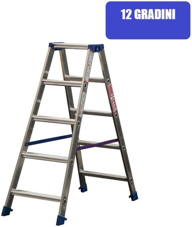 Escalera a doble subida de aluminio para interno 12 peldaños Marchetti Gaudi 12: Amazon.es: Bricolaje y herramientas