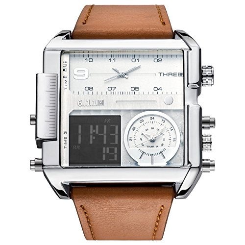 Top Plaza Men's Square Digital Electronic Genuine Leather Band 3ATM Waterproof LCD Sport Watch Casual Business Quartz Military Multifunction Back Light