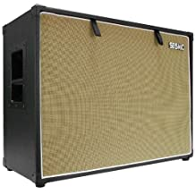 Seismic Audio-212 Guitar Speaker Cabinet Empty-7 Ply Birch-12-Inch Speakerless Cab-2x12-Black Tolex-Wheat Cloth Grill-Front or Rear Loading Options