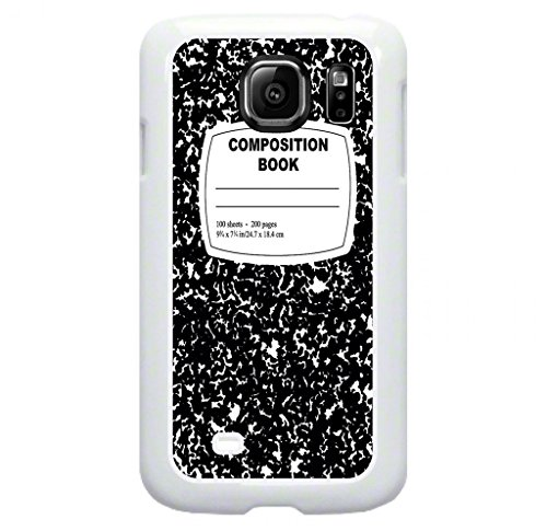 Composition Notebook- Protective White Plastic Case for the Samsung Galaxy s6 EDGE Phone (Not compatible with the Standard Galaxy s6)