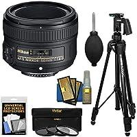 Nikon 50mm f/1.8G AF-S Nikkor Lens with 3 UV/CPL/ND8 Filters + Pistol Grip Tripod Kit for D3200, D3300, D5300, D5500, D7100, D7200, D750, D810 Cameras