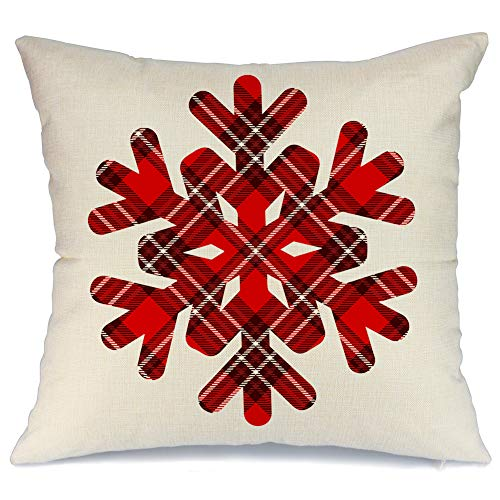 AENEY Christmas Throw Pillow Cover 18 x 18 for Couch Christmas Snow Decorations Farmhouse Home Decor Christmas Decorative Pillowcase Faux Linen Cushion Case for Sofa