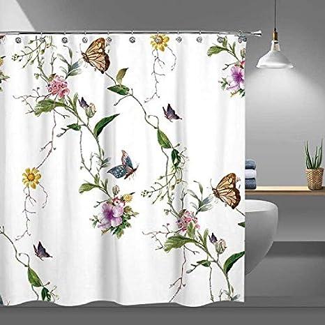 Boho shower curtain Modern design bathroom decor Floral shower curtain pink and green flowers shower decor