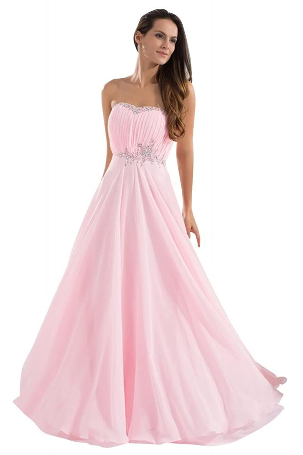 GEORGE BRIDE Pink Honey Pretty Strapless Chiffon Long Prom Dress