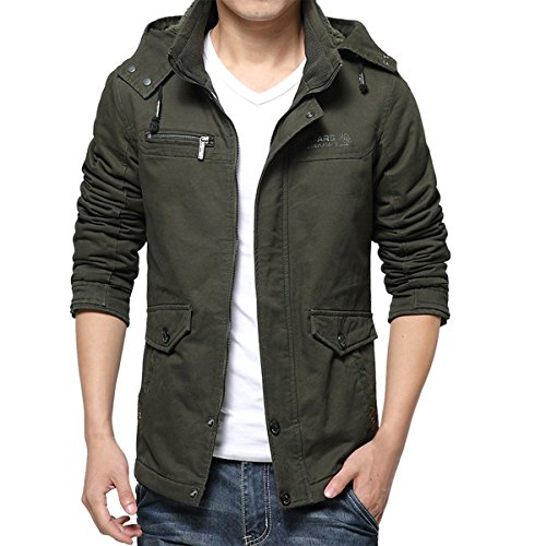 Pishon Men's Sherpa Lined Jacket Cotton Heavyweight Zip Up Detachable Hoodie Jacket, Army Green, TagsizeXXXL=USsizeM ()