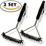 """2 set of KAYSEV Barbecue BBQ Cleaner Grill Metal Bristle Cleaning Brush, Stainless Steel Wire Triangle Scrape 12"""", Long Handle with Hanging Loop, Easy storage, Great for Outdoor Cooking and Camping."""