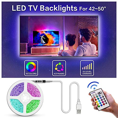 Led TV Backlight, Bason 8.33ft USB Led Lights Strip for TV/Monitor Backlight, Led Strip Light with Remote, TV Bias Lighting for Room Home Movie Decor.(42-50inch) ...
