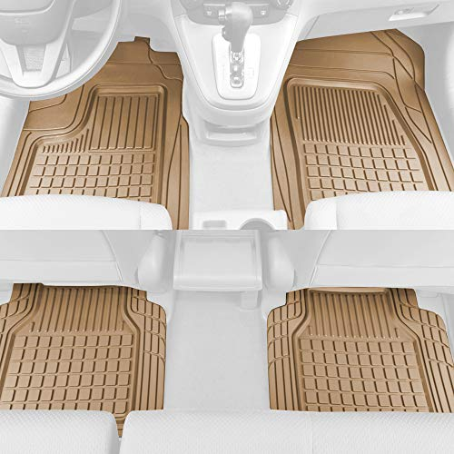 Solid Pro Rubber Car Floor Mats - Performance Plus Heavy Duty Liners for Auto SUV Truck Car Van - 3-Piece Set - Thick, Odorless & All Weather (Beige Tan) ()
