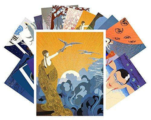 24 Art Postcards - Postcard Set 24 cards Erte Vintage Painting Art Deco