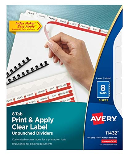 Avery Index Maker Translucent Dividers with Clear Labels, 5-