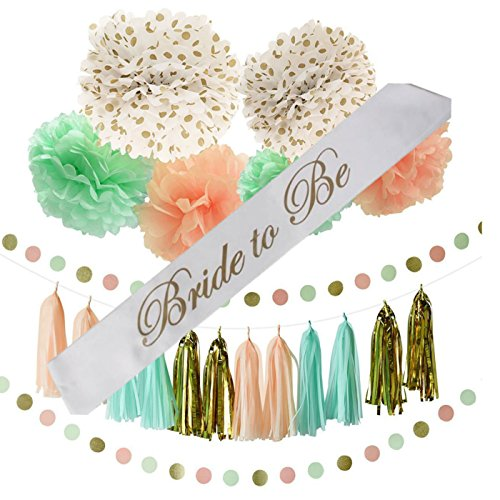 Bachelorette or Bridal Shower Party Decoration Bundle With Bride to Be Sash (Peach-22 pieces) by BD Arts and Parties