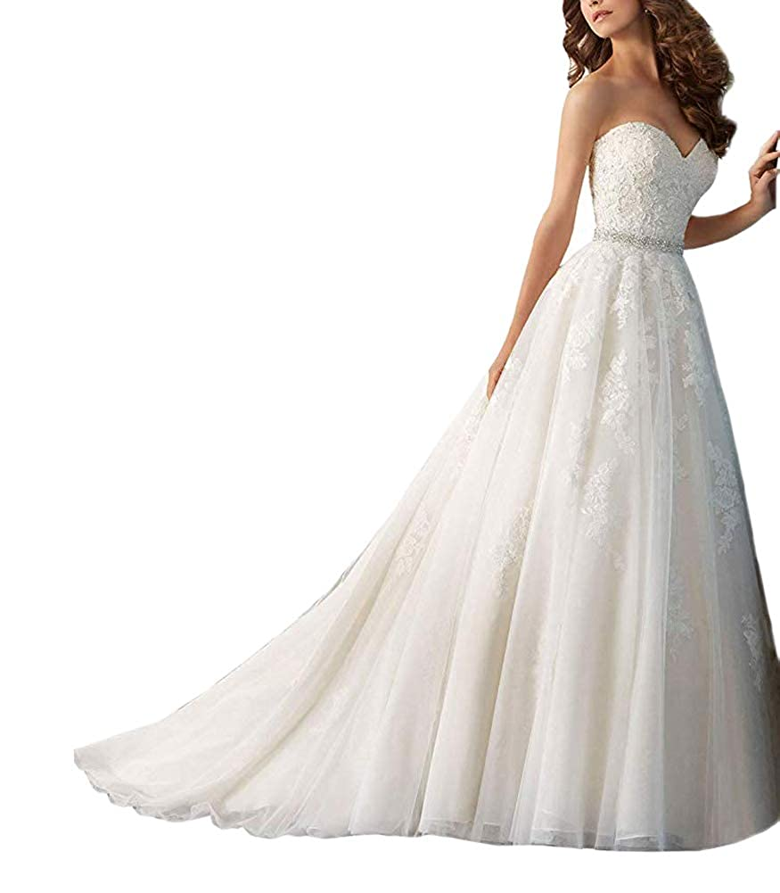 Ivory LiBridal Women's Sweetheart Wedding Dresses Aline Lace Beaded Bridal Gowns