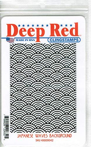 (Deep Red Stamps Japanese Waves Background Rubber Stamp )