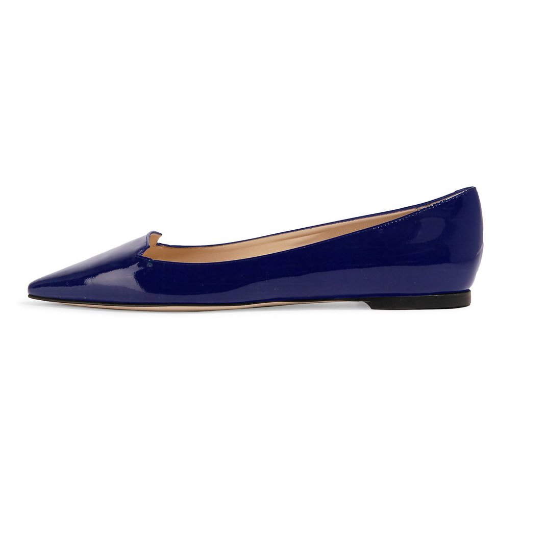 Sammitop Women's Pointed Toe Flats Cut-outs Ballet Shoes Slip-on Casual Shoes B075K6WVMF 12 B(M) US|Patent Blue