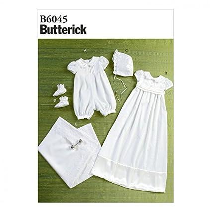 Butterick patrón de costura para bebé Pelele de 6045, vestido, cinturón, sombrero,