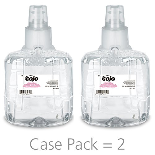 (GOJO LTX-12 Clear & Mild Foam Soap Handwash, EcoLogo Certified, 1200 mL Handwash Refill for LTX-12 Touch-Free Dispenser (Pack of 2) - 1911-02 )