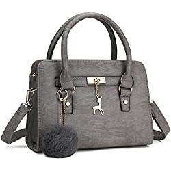 Bagerly Women Fashion PU Leather Shoulder Bags Top-Handle Handbag Tote Bag Purse Crossbody Bag (Grey)