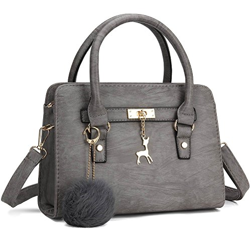 Handle Handbag (Bagerly Women Fashion PU Leather Shoulder Bags Top-Handle Handbag Tote Bag Purse Crossbody Bag (Grey))
