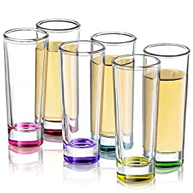 JoyJolt Hue Colored Shot glass Set, 6 Piece Shot G...