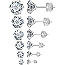 JADENOVA 925 Sterling Silver Cubic Zirconia Stud Earrings for Women Men, 3mm-8mm (6 Pairs/Set, Assorted Sizes)