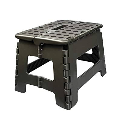 Usmascot Non-Slip Folding Step Stool, Sturdy Safe Enough - Holds up to 350 Lb - 9 inch Footstool for Adults or Kids, Folding Ladder Storage/Opens Easy, for Kitchen,Toilet,Camping ect. (Army Green, M): Kitchen & Dining