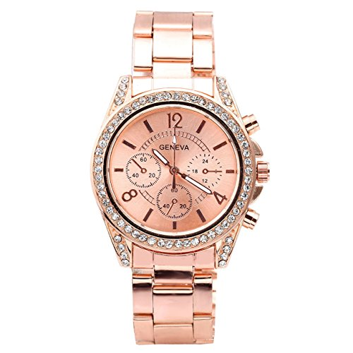 Top Plaza Unisex Fashion Women's Men's Crystal Accented Analog Quartz Alloy Watch, Rose Gold