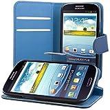 ECENCE Samsung Galaxy S3 i9300 S3 Neo i9301 Custodia a Portafoglio Protettiva wallet case cover + protezione dello schermo incluso blu scuro 23010207