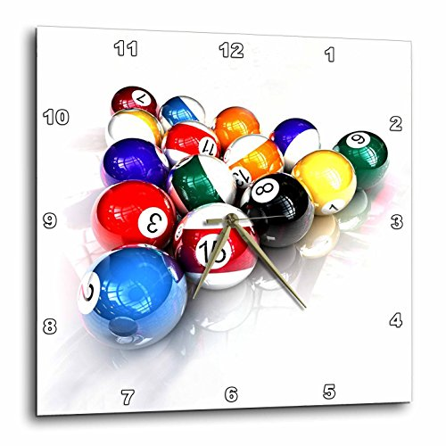 3dRose DPP_3318_3 Billiards Balls Pool Wall Clock, 15 by 15-Inch ()