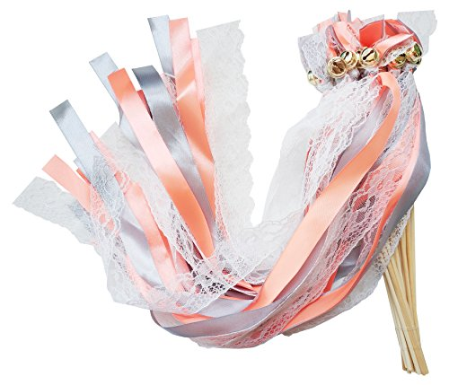 - Pack of 30 Wedding Party Ribbon Wands Streamers Fairy Stick with Bells for Bridal Baby Shower Christmas Birthday Nursery Decoration Backdrops Photo Props (Orange, 21.5