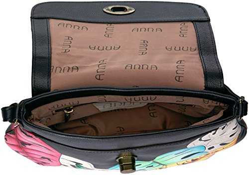 Anuschka Leather Lovely Medium Cross Lovely Body Flap Anna Leaves Leaves Handpainted ArEwqAO