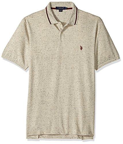 - U.S. Polo Assn. Men's Classic Fit Solid Short Sleeve Pique Shirt, 8459-Oatmeal Heather, XL