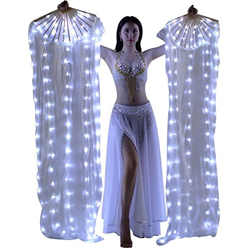 MISI CHAO Belly Dance LED Fan Veil - 1.8 Long Bamboo Fans Veil Hand Made Silk Fan for Dance/Outdoor 1 Pair
