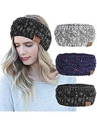 Women Headbands 3Pcs Knit Headband Twist Headband Crochet Winter Cable Ear  Warmer Confetti Blue White Black 01961a8e595