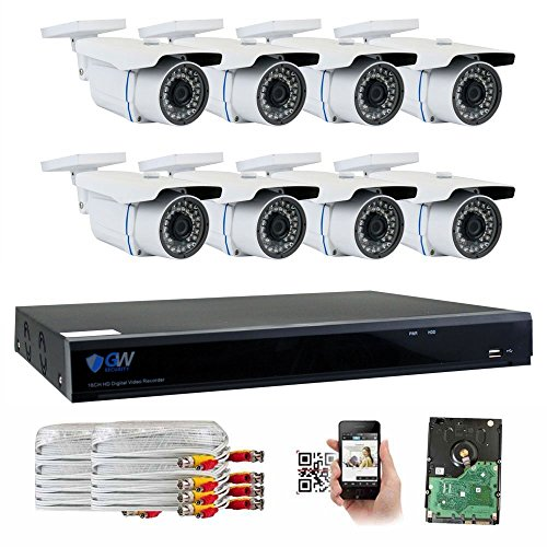 GW Security 8 Channel CCTV 5MP (2.5X 1080P) Security Surveillance DVR System with 8 x Super 5.0MP HD 1920p (2592TVL) Weatherproof Security Cameras,110ft IR Night Vision,2TB HDD