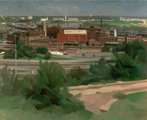 'Wilbur Niewald,Kansas City,View Of The River,1989' Oil Painting, 24x30 Inch / 61x75 Cm ,printed On Perfect Effect Canvas ,this Reproductions Art Decorative Canvas Prints Is Perfectly Suitalbe For Powder Room Decoration And Home Decoration And Gifts