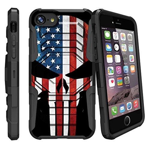 Case for iPhone 7 | iPhone 7 4.7 Holster Case [Armor Reloaded] Shock Resistant Hybrid Case w/Kickstand + Bonus Holster Belt Clip - American Flag Skull