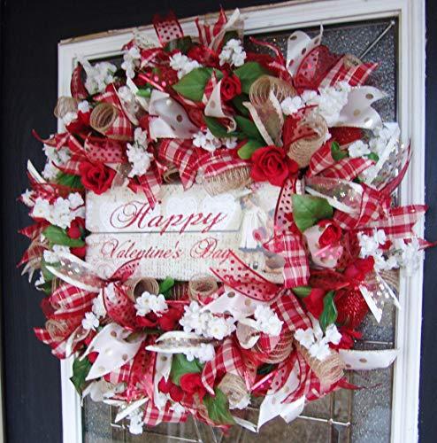 Romantic Vintage Red Cream Burlap Gold Happy Valentines Day Deco Mesh Front Door Wreath, Unique Housewarming Wedding Gift, Decoration, Decor ()