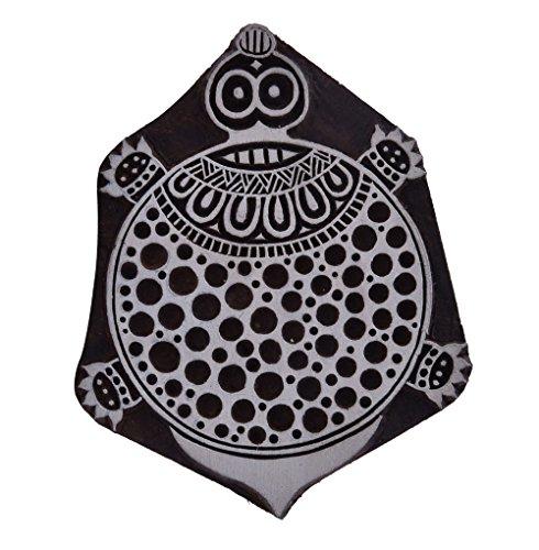 Indian Wooden Handcarved Tortoise Turtle Scrapbook Stamp Block Art Stamps